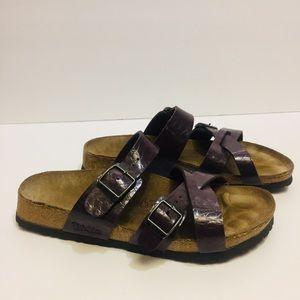 Birkis Original Birkenstock Purple Croc Shoes